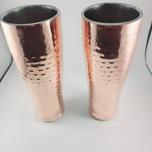 Hammered copper tall tumblers 1set (2 cups)